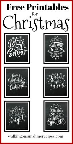 Fun Christmas Printables - Just for YOU from Walking on Sunshine Fun Christmas Printables just for you to use in your holiday decorating. I love these chalkboard Christmas prints and think you will too! Fun Christmas, Christmas Quotes, Christmas Signs, Country Christmas, All Things Christmas, Holiday Fun, Christmas Cookies, Buffalo Check Christmas Decor, Christmas Coasters