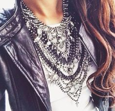 simple white tee. bling bling. leather jacket.