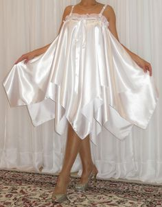 VTG Lingerie Satin Double Layer Slip FULL Sweep Negligee Babydoll Nightgown
