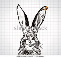Adorable hand drawn rabbit with vector butterfly illustration by Ana Aviskina, via Shutterstock