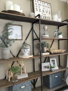 Our large shelving unit in our living room was starting to get a little cluttered, so over the weekend I took everything off and decided to simplify.I dusted everything and choose only my favorite … Living room shelves Modern Farmhouse Living Room Decor, Farmhouse Style, Farmhouse Design, Farmhouse Decor, Farmhouse Ideas, Modern Living, Farmhouse Office, Farmhouse Interior, Small Living