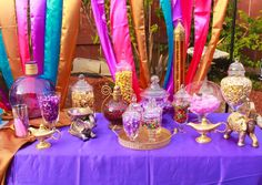 Stunning candy buffet at an Arabian birthday party! See more party planning ideas at CatchMyParty.com!