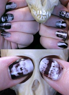 """x-ray nails - """"I have no idea how she did this, other than that it involved """"tattoo paper"""". I don't even know what that means. I just know that I am jealous and I need these."""""""