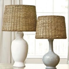 Lighten it up your look with the natural texture of rattan. Our Dareau Woven Rattan Lamp Shade is crafted of richly stained fibers that are tightly woven by hand. Traditional Lamp Shades, Rattan Lamp, Wicker Lamp Shade, Diy Holz, Ballard Designs, Coastal Decor, Tropical Decor, Coastal Cottage, Coastal Living