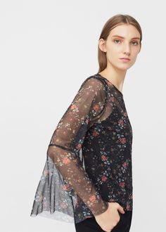 Printed tulle blouse | MANGO