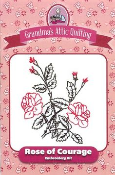 """Rose of Courage  Make yourself a veritable garden of rose embroidery projects with our newest collection of rose embroidery kits. This 6"""" embroidered block is from the 1886 J.F. Ingalls stamping catalog. Rose of Courage can be made into a variety of delightful projects, including quilt blocks, pillows, potholders, tea towels and more. Our kit contains background fabric, DMC embroidery floss, and the pattern on both Transfer-Eze and paper for tracing."""