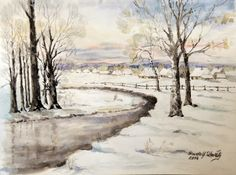 """Krajobraz zimowy"" akwarela A3"