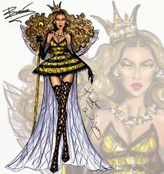 Hayden Williams Fashion Illustrations: Haute Halloween: Killer Queen Bey by Hayden Williams