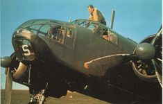 """The pilot takes his place in the cockpit of the British bomber """"Beaufort» Mk.I"""