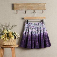 Bohemian Style Tiny Floral Print Cotton High-Waist Women's Skirt