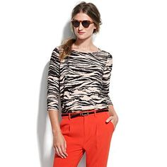 love this outfit..zebra print silk top paired with tangerine tango slim pants / trousers