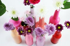 Turn glass bottles into beautiful vases with this easy painting technique. These bud vases will add a pop of color to your home decor.