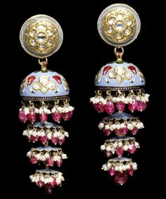 "India | ""Jhumkas"" a pair of diamond-set enamelled gold pendant earrings with seed pearl fringe 
