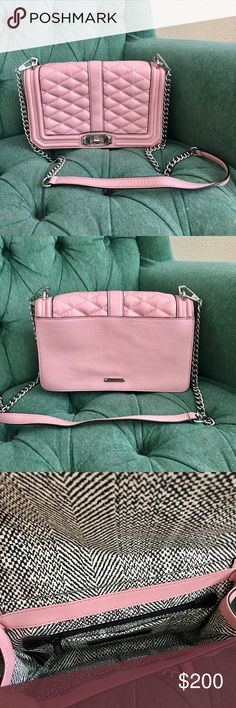 Rebecca Minkoff • Quilted Love Crossbody Primrose Full details in photo #4. This bag is worn once, like new. The cult favorite quilted primrose pink leather with silver hardware! Rebecca Minkoff Bags Crossbody Bags