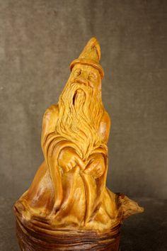 Wood Carving Wood Spirit Dancing Elf Wizard by TreeWizWoodCarvings, $115.00