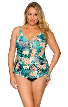 c5f001a93fa35 Sunsets Plus Size Tropical Oasis Adjustable Shirred Tankini Top