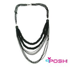 POSH Jada - Necklace - Full necklace with multiple strands - Black colour - Dimension: 50cm + 5cm extending chain  POSH by FERI - Passion for Fashion - Luxury fashion jewelry for the designer in you.