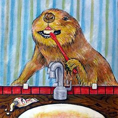 Beaver Brushing Teeth animal dentist bathroom decor art tile coaster gift. 4.25 x 4.25 inch Decorative ceramic art tile listed and individually made by the artist Four cork dots on the back of the tile protect counters/tables High quality and very durable Pictures are to show what the tile looks like but with the image for this listing . 2nd photo in product pictures is a sample picture showing what the product will look like but with the image for this listing.