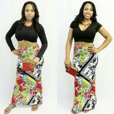 Pleasant Forest Maxi Skirt 95% Polyester 5% Spandex Skirts Maxi