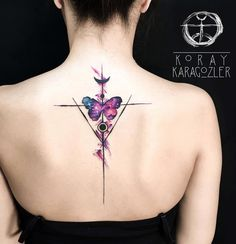Pretty back piece with geometric lines, and a butterfly with a space background.