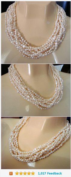Vintage Freshwater Pearl Multi Strand Sterling Choker Necklace / 8 Strands / Jewelry / Jewellery https://www.etsy.com/JoysShop/listing/551668618/vintage-freshwater-pearl-multi-strand?ref=shop_home_active_11