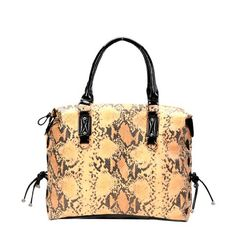 Large Yellow Snake Print Faux Leather Handbag By Fash