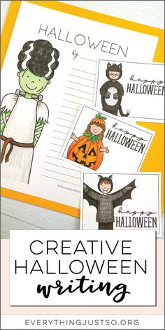 Halloween Writing Activity | Looking for a way to practice creative writing skills while celebrating Halloween? This creative Halloween writing resource walks students through the steps of creating their own unique Halloween character and then writing a fictional story with a partner. Low prep for you and a perfect emergency sub resource! | everythingjustso.org #halloween #halloweenwriting #halloweenactivities #upperelementary