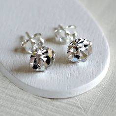 Sterling Silver Diamante Stud Earrings
