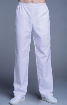 Брюки мужские на резинке белые