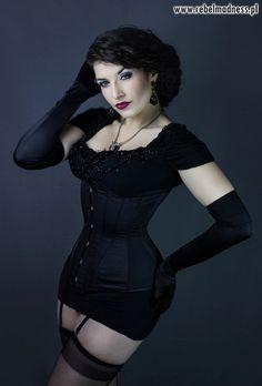 Black satin steel bones gothic waist training by RebelMadness