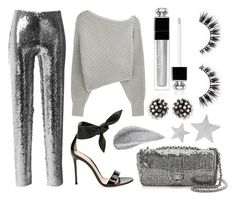 """""""Chanel sequin bag, Gianvito Rossi sandals, Alexander Wang pullover, Isabel Marant sequin trousers, Miriam Haskell earrings, Dior Addict eyeshadow and Saint Laurent brooches"""" by anastassiablog ❤ liked on Polyvore featuring Isabel Marant, Alexander Wang, Gianvito Rossi, Christian Dior, Miriam Haskell and Yves Saint Laurent"""