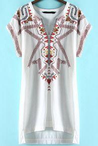 White V Neck Tribal Embroidered High Low Dress
