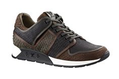 Louis Vuitton Python Skin Sneakers: As running shoes continue to make the rounds amongst the fashion set, luxury fashion labels are Lv Shoes, Me Too Shoes, Shoe Boots, Shoes Sneakers, Running Sneakers, Running Shoes, Gq, Louis Vuitton Sneakers, Sports Footwear