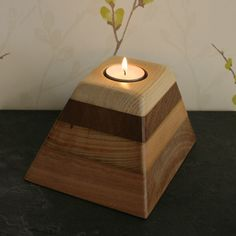 Hand crafted votive, tea light candle holder. created using reclaimed woods, Oak, Mahogany, Teak and Pine.