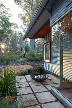 Gallery of Bush House / Archterra Architects - 19 House Cladding, Metal Cladding, Australian Native Garden, Steel Frame House, Tin House, Shed Homes, Backyard, Patio, Mid Century House