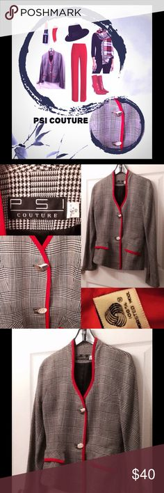 """🐼 NWOT PSI COLLECTION HOUNDSTOOTH PLAID BRAIDED🐼 I love this hi-low peplum blazer💕!!!  Stunning  red braided neckline, continues to placket down the front.  Faux pockets trimmed in red braid.  Artistic gold toggle buttons fasten the front elegantly.  The front of jacket is 1"""" shorter in front than the back, making for a more feminine look in its menswear black & white (houndstooth) plaid print.  Artistic toggle buttons down the front.  Length front 24"""".  Length back 25"""".  Sleeves 24""""…"""