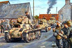 206 Panzer battalion using French Hotchkiss Somua S35 light tanks, September 1944.  Click on image to ENLARGE