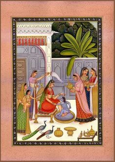 Baby Krishna Resists His Bath, Hindu Water Color Painting on PaperArtist: Kailash Raj Pichwai Paintings, Mughal Paintings, Indian Paintings, Watercolor Paintings, Baby Krishna, Krishna Leela, Krishna Radha, Lord Krishna, Mughal Miniature Paintings