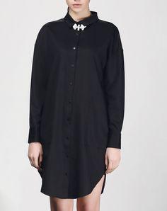 #AdoreWe #VIPme Shirt Dresses - SAINTY Black Plain Shirt Dress With Pockets - AdoreWe.com