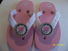 Pink Barbie Bottle Caps Flip Flops by ang744 on Etsy, $3.00