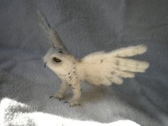 Needle felted Snowy Owl by FeathersInPaint on Etsy