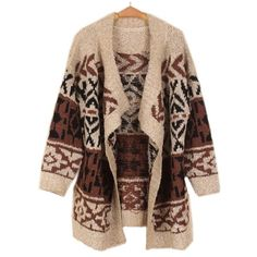 Apricot Long Sleeve Asymmetrical Geometric Cardigan Sweater ($42) ❤ liked on Polyvore