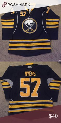 Hockey jersey Buffalo Sabres #57 Myers Tyler Navy Blue Home hockey jersey Reebok. Condition is 9/10. Basically brand new. Reebok Shirts Tees - Long Sleeve