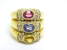 Large Cocktail Ring Yellow, Pink, Blue Sapphire & Diamonds 18k. Y. Gold Size M