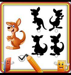 Find the correct shadow cartoon funny kangaroo e vector Cartoon Rooster, Farm Cartoon, Cartoon Kids, Happy Squirrel, Happy Pig, Farm Animals Games, Animal Games, Funny Sheep, Funny Rabbit
