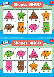 Practice Basic Shapes And Colors With These BINGO Cards Set 2 From Super Simple Learning