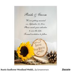 Announce your nuptials with the #Rustic #Sunflower #Woodland #Wedding Save the Date Announcements. This outdoors theme custom #woods or forest wedding keep the date announcement features a nature photograph of a yellow sunflower, wood slices with SAVE THE DATE on it, brown pine cones and bridal veil with a burlap and white satin background. Perfect for a casual yet classy rustic outdoor or natural woodland wedding theme. #rusticwedding #woodswedding #woodlandwedding #savethedate