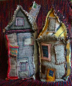 "Recycle Village - Karna Erickson [eanie meany] Take a look at all of the houses and trees of her ""recycle village"". Textiles, Jeans Recycling, Sewing Crafts, Sewing Projects, Upcycled Crafts, Denim Ideas, Recycled Denim, Recycled Sweaters, Recycled Fabric"