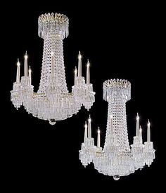 An extremely rare and fine quality pair of early 19th century eight light ormolu mounted cut glass chandeliers by John Blades of Ludgate Hill, London. This pair is of a classic tent and waterfall design and they survive in remarkable condition, even retaining their original gilt pins.