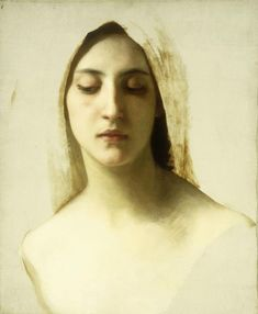 William Adolphe Bouguereau:  Study for La Charite (Study of a Woman's Head for Charity)